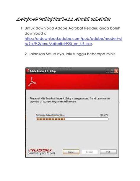 adobe reader x installation file langkah install adobe reader
