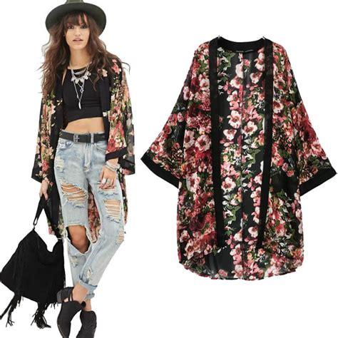 Outer Outwear Cardigan Kimono flower blouse floral print chiffon kimono cardigan