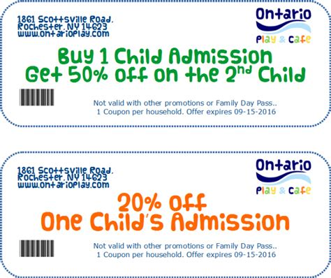 printable restaurant coupons rochester ny special coupons for ontario play and cafe through sept 15