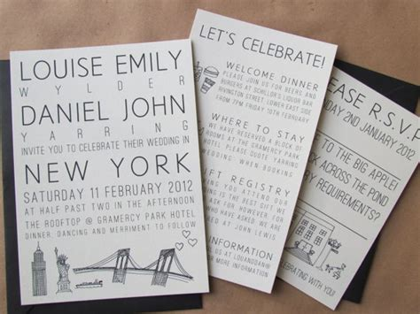 nyc destination wedding invitations destination wedding invitation suite new york by