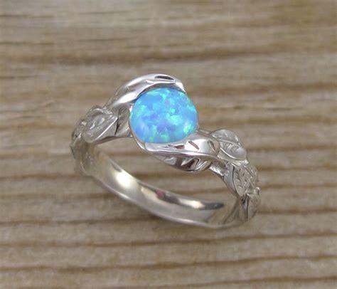leaf engagement ring opal engagement ring white gold leaf