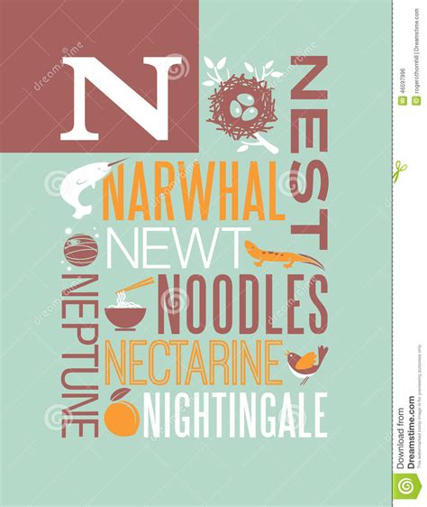 5 Letter Words Vector letter n words typography illustration alphabet poster
