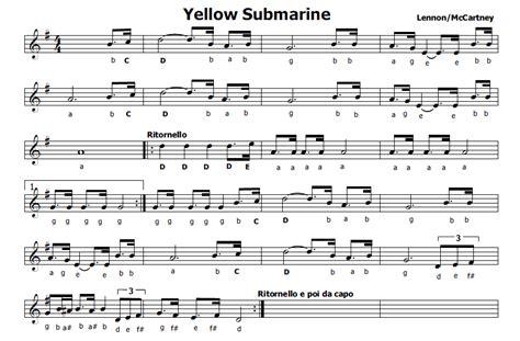 kalinka testo musica e spartiti gratis per flauto dolce yellow submarine
