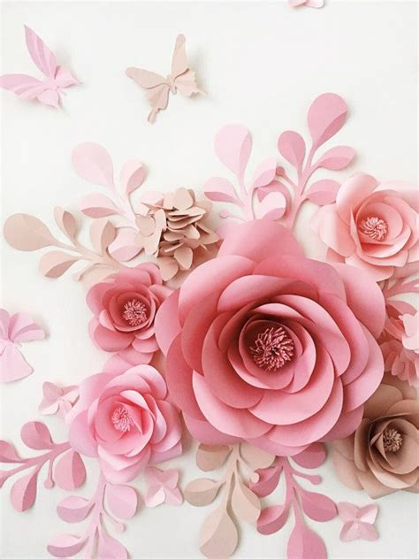 flor de papel para scrapbook pictures to pin on pinterest set of 7 large paper flowers paper leaves and butterflies