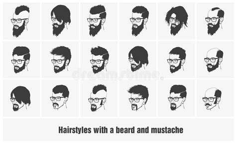 S Hairstyle Glasses Beard by Hairstyles With A Beard And Mustache Wearing Stock Vector