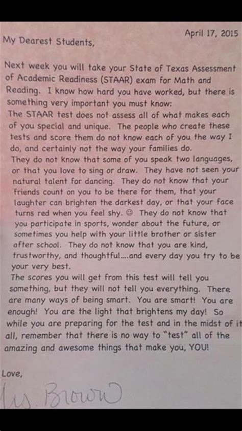 Parent Letter Before Testing Students Sent Home With Note From Reminding Them They Re More Than Their Test