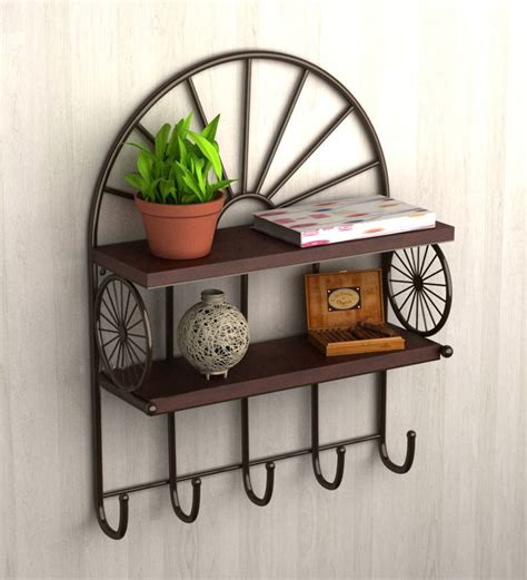 home wall decor online two tier metallic wall shelf with key holder by home