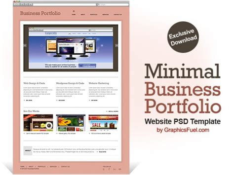 Business Portfolio Template Free minimal business portfolio website psd template psd file