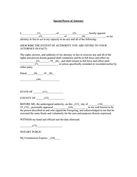 special power of attorney form special power of attorney in word and pdf formats