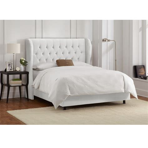 skyline bed skyline furniture tufted wingback bed in velvet white ebay