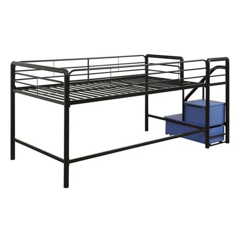 metal twin loft bed metal twin loft storage steps bed in black and blue 5512198