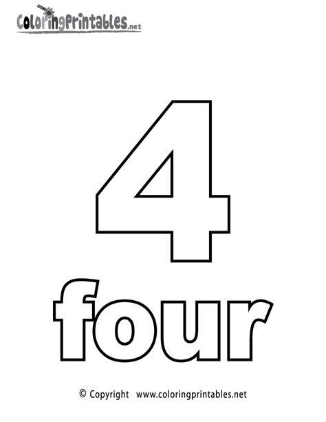 Number 4 Coloring Pages Preschool by Number Four Coloring Page Printable Numbers Activities