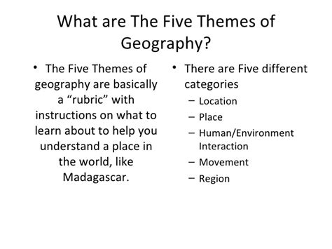 5 themes of geography africa madagascar and the five themes of geography