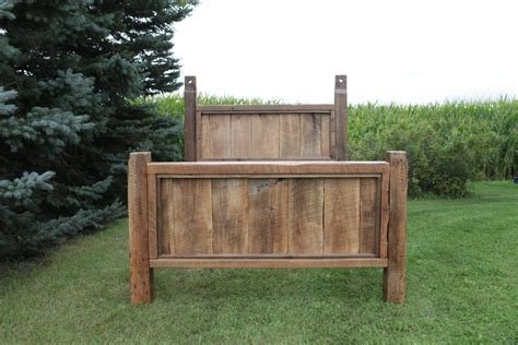 reclaimed barn wood bed rustic saw marks authentic nail holes