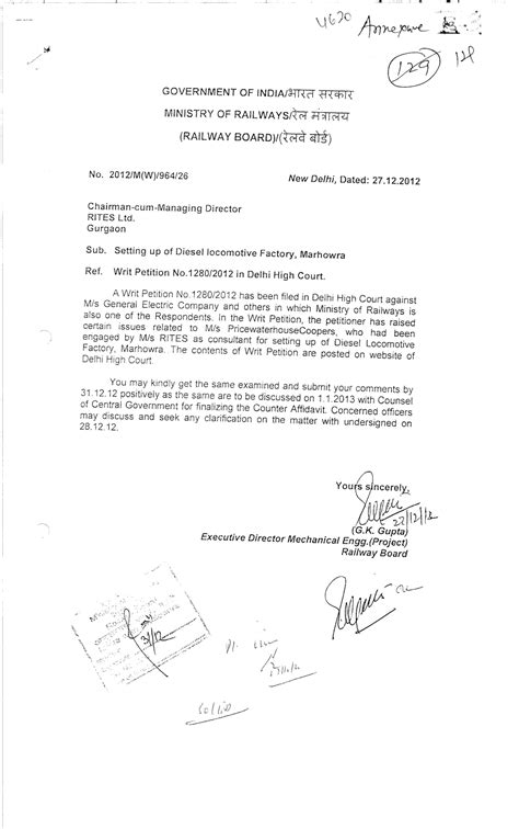 Permission Letter Railway Seema Sapra General Electric Corruption Whistle Blower The Prevails Complaint