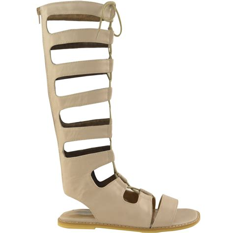 12 Coolest Cut Out Shoes For This Summer by Womens Knee High Gladiator Lace Up Cut Out Flat