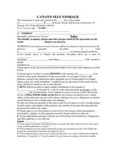 Self Storage Rental Agreement Template by Self Storage Lease Agreement Pdf By Cyq15793 Storage