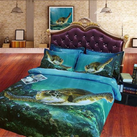 turtle bedding set swimming turtle blue print 4 duvet cover sets