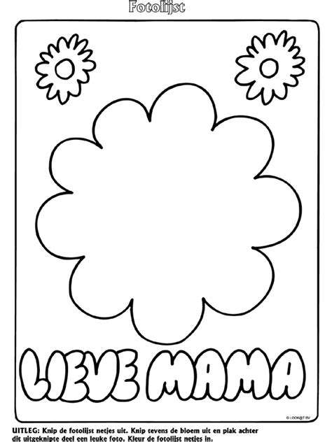 kleurplaat bloem moederdag moederdag mama fotolijst knutselpagina nl
