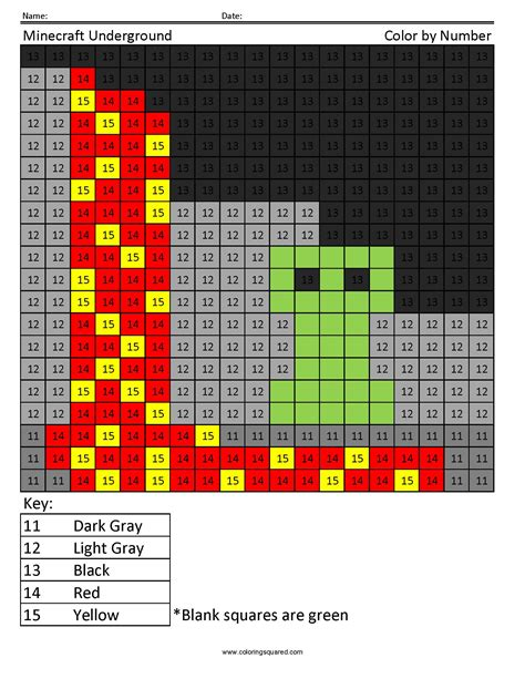 minecraft coloring page by numbers minecraft underground color by number coloring squared