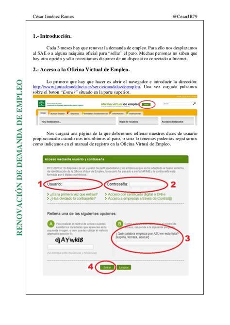 sae oficina virtual de empleo renovar demanda renovaci 243 n demanda de empleo