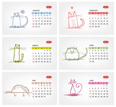 2012 calendar template vector 02 download free vectors