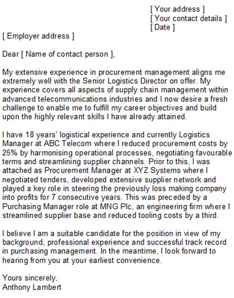 cover letter procurement position logistics purchasing cover letter sle