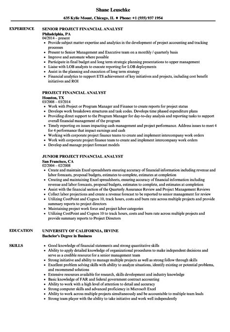 financial analyst resume resume format for senior financial analyst