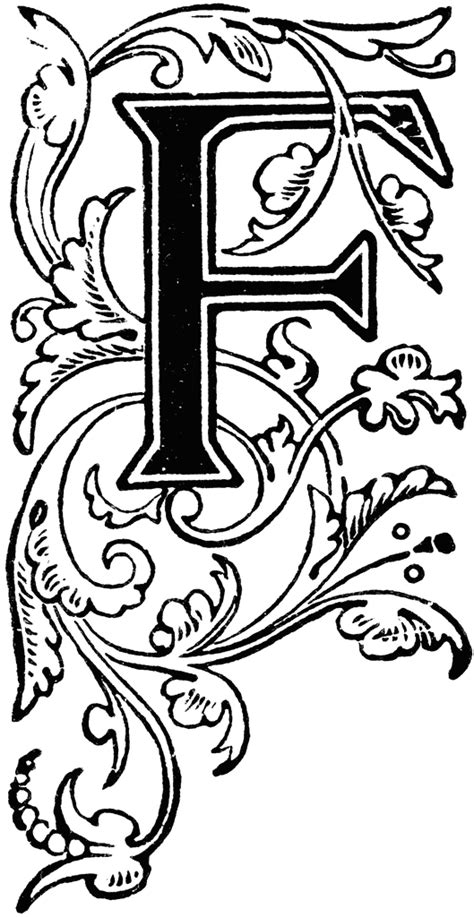 Decorative Alphabets And Initials by Floral Capital F Clipart Etc