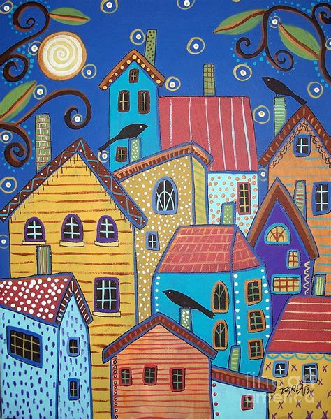 Whimsical House Plans village birds painting by karla gerard
