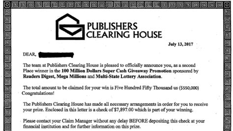 Publishers Clearing House Letter - orleans co investigators warn citizens about mail scam wham