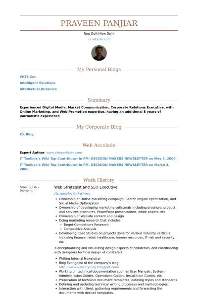 Seo Strategist Sle Resume by Seo Executive Resume Sles Visualcv Resume Sles Database