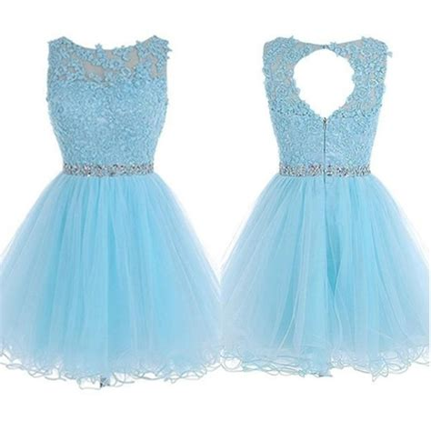 light blue lace beaded   homecoming dressesshort