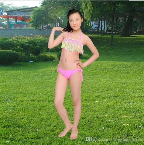 underage japanese child models 2018 summer girls two piece fringe swimwear hammock
