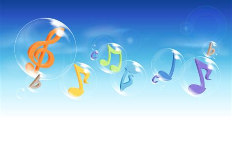 Computer Wallpapers HD, Colorful Musical Notes Flying in