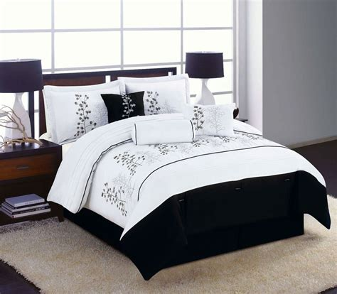 Black White Comforter Sets by 7pc King Size Bedding Comforter Set Black White Winter Blossom Embroidered Ebay