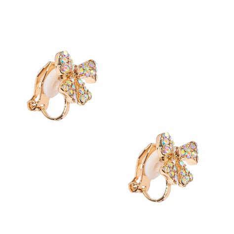 Where Can You Buy Claire Gift Cards - gold tone pave gift bow clip on stud earrings claire s ca
