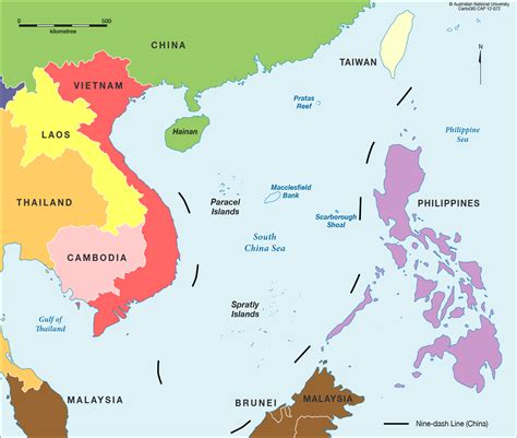 asia sea map south china sea in colour cartogis services maps