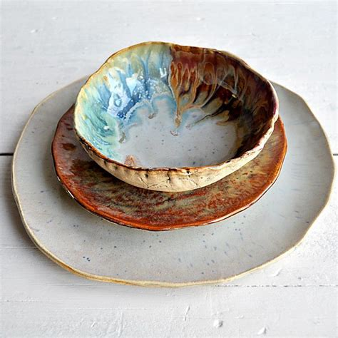 Handmade Pottery Dishes - 4 river journey 3 sets