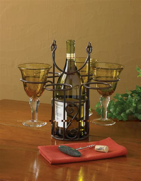 Kitchen Collection Llc Village Scroll Wine Bottle Glass Caddy