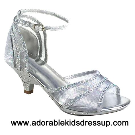adorable kids dress up kids high heels shoes girls tea silver high heel dress shoes fancy pageant heels for