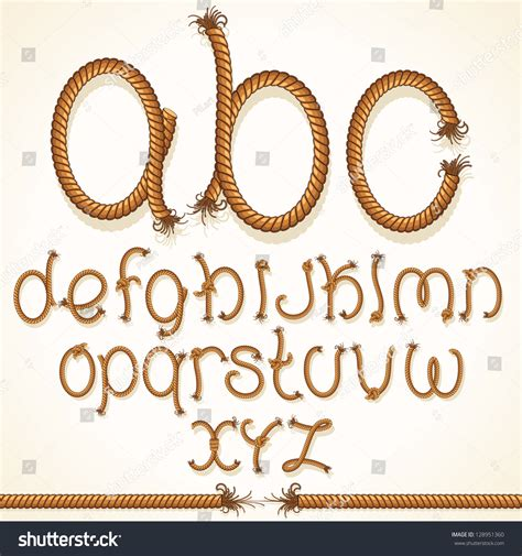 rope pattern font rope font vector set of isolated alphabet letters made