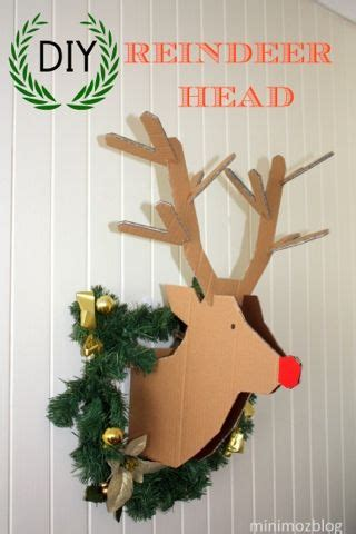 diy cardboard deer template minimoz diy reindeer cardboard wreath for