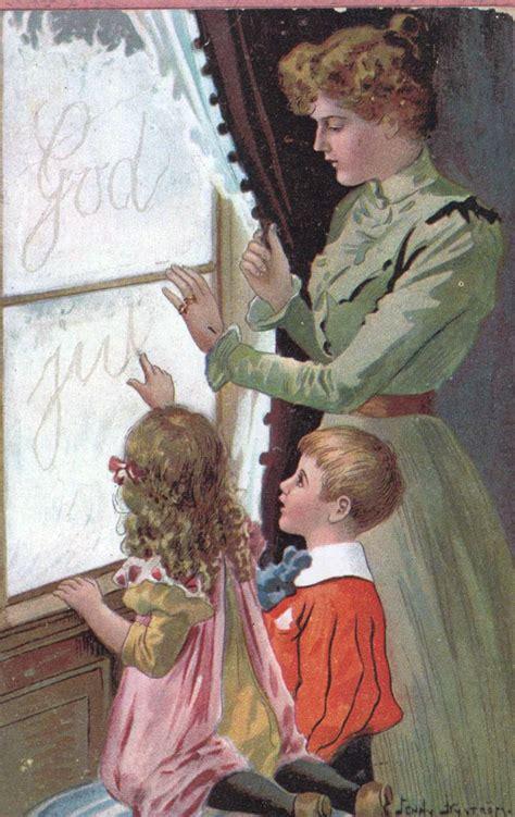 vintage christmas card  sweden illustrator jenny nystroem  images christmas