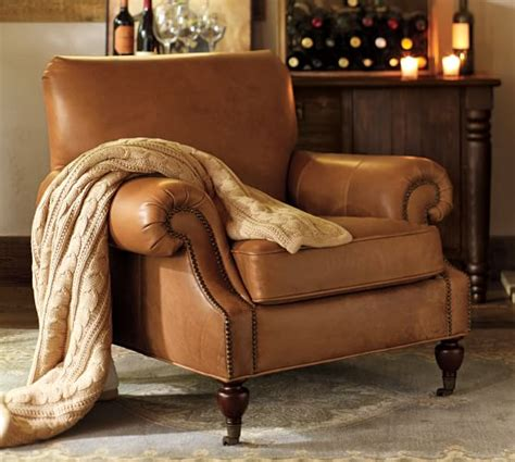 pottery barn armchairs brooklyn leather armchair pottery barn