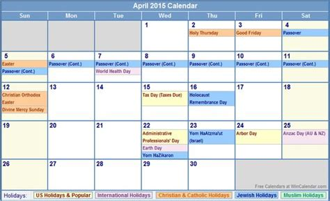 April 2015 Calendar With Holidays Holidays In 2015 April 2015 Calendar With Us Christian