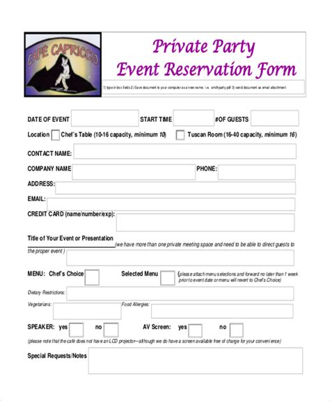 restaurant reservation form template sle reservation forms click to enlarge