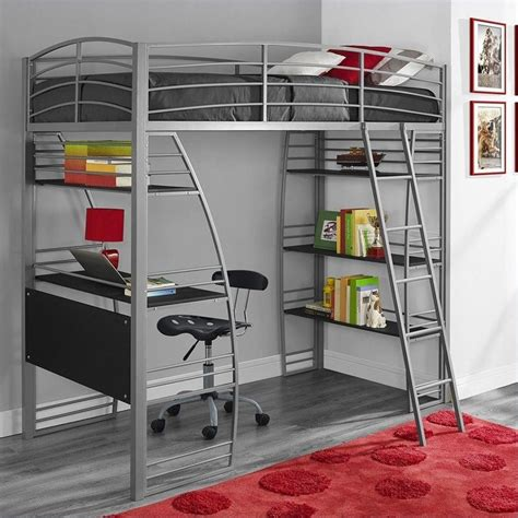 loft beds for kids with desk loft bunk bed over desk and bookcase twin in gray 4016427