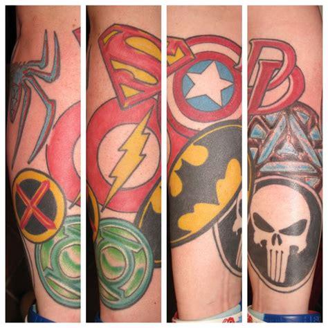 superhero tattoo sleeve superman batman punisher green lantern flash