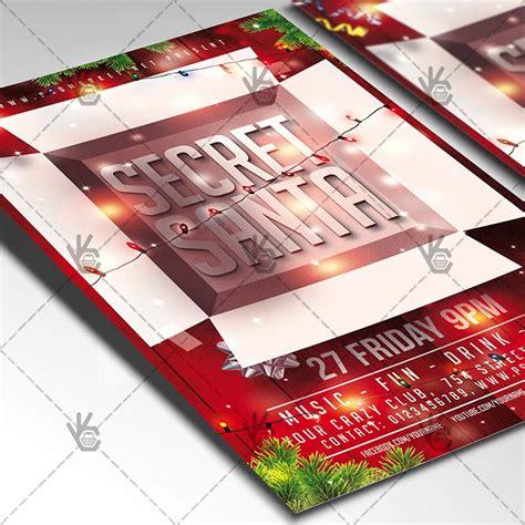 Secret Santa Party Christmas Flyer Psd Template Psdmarket Secret Santa Flyer Templates